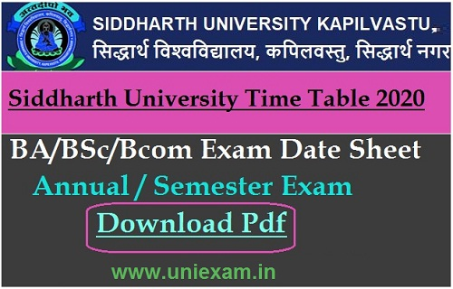 Siddharth University UG PG Result 2020