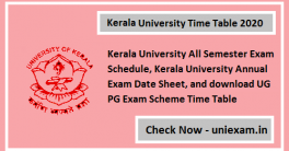 Kerala University Time Table 2020