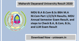 Maharshi Dayanand University Result 2020
