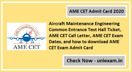 AME CET Admit Card 2020