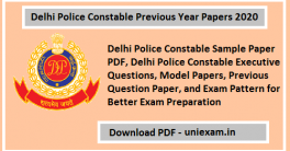 Delhi Police Constable Previous Year Papers 2020