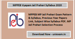 MP Jail Prahari Syllabus 2020